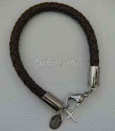 First Holy Communion gift for a grandson - leather bracelet